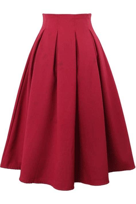 plain chiffon high waist pleated midi skirt