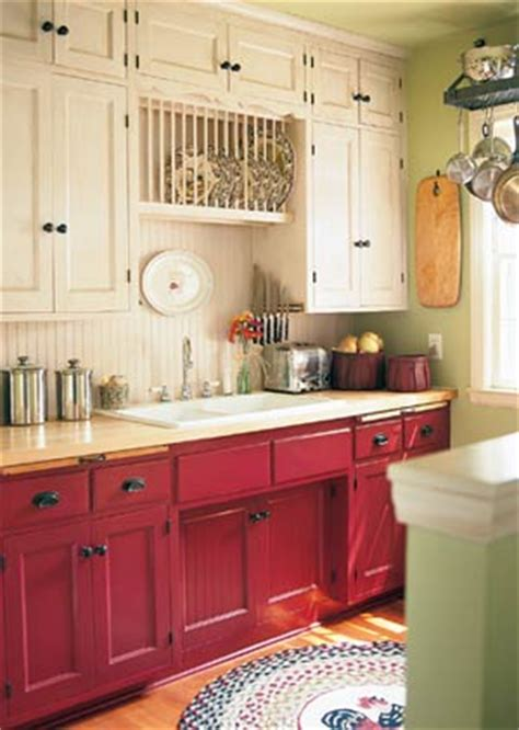 Red Kitchen Cabinet by Painted Kitchen Cabinets