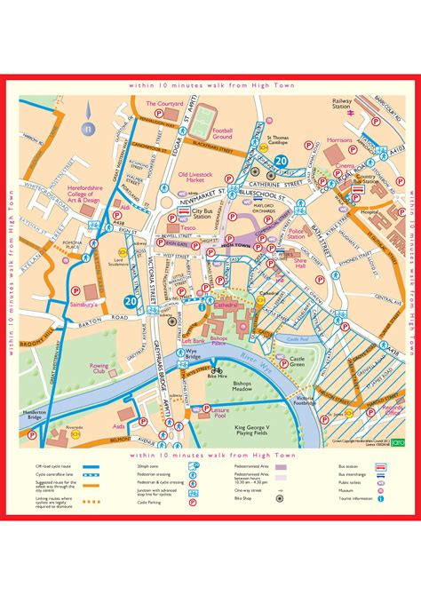 map city centre hereford map