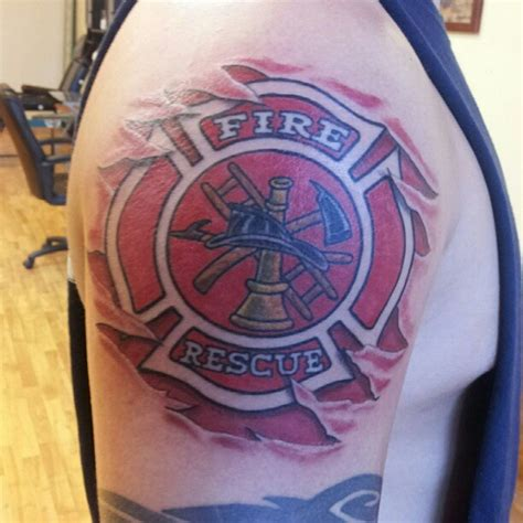 fire dept tattoos rescue shoulder shared by smokin