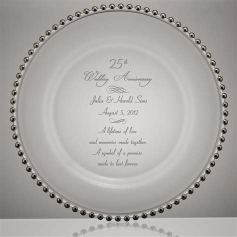 Silver Point 25th Wedding Anniversary Glass Plate