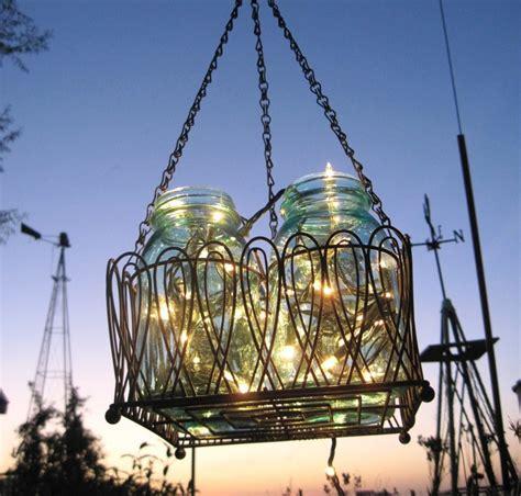 Outdoor Chandelier Battery Operated Jar Chandelier Solar Lights Antique Blue Jars Black Wire Basket Upcycled Lighting