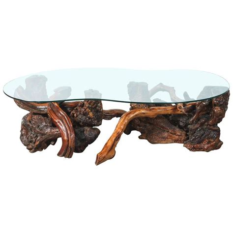 Driftwood And Glass Coffee Table Mid Century Driftwood And Glass Coffee Table At 1stdibs