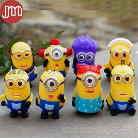 Despicable Me Set Isi 2 Trading Figur new 8 pcs minions despicable me 2 purple minion pvc