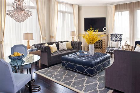 Blue Transitional Living Room Awe Inspiring Cocktail Ottoman Decorating Ideas Images In