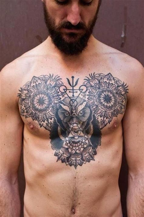owl chest tattoos for men top 144 chest tattoos for