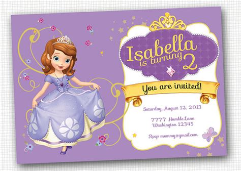 printable invitations of sofia the first items similar to sofia the first invitation printable on