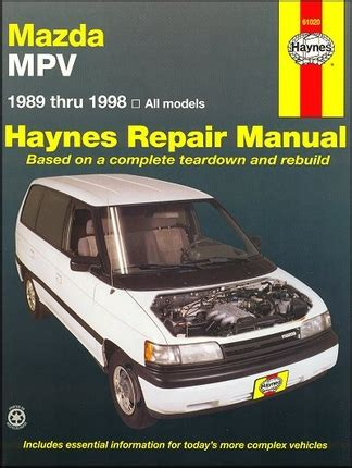 mazda mpv repair service manual 1989 1998 haynes 61020