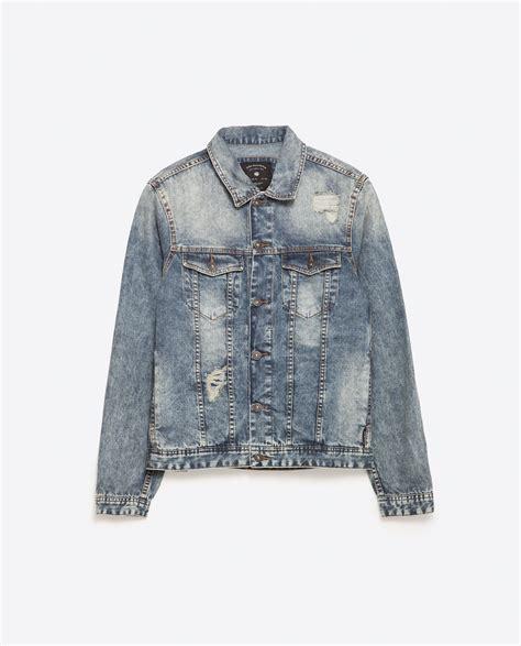 Zara Denim zara denim jacket in blue for mid blue lyst