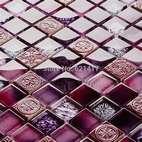 Wave Wall Mural aliexpress com buy purple color glass mosaic tiles