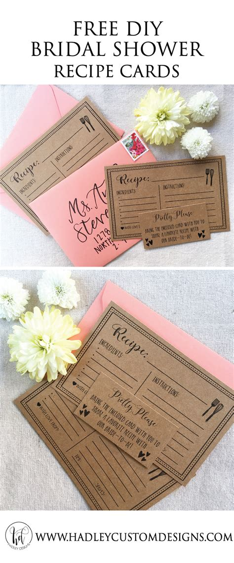 free recipe card templates for bridal shower hadley designs free printable recipe cards