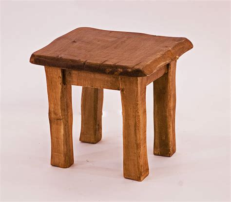Wooden Stool by Rustic Handmade Chunky Wooden Stool By Kwetu