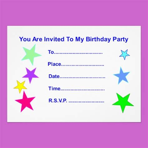 Birthday Card Invitations Happy Birthday With Stars Invitation Card Star Gift Shop