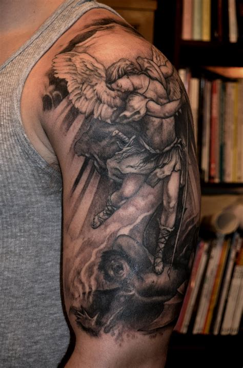 st michael sleeve tattoo designs alchemy arts st michael by trerrotola