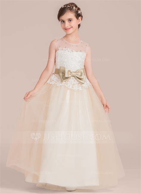 Ball Gown Floor length Flower Girl Dress   Satin/Tulle