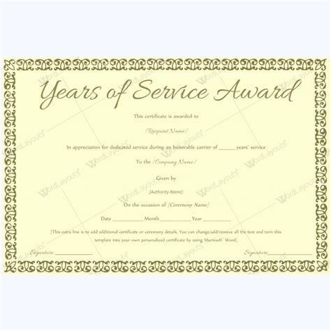 years of service certificate templates 89 award certificates for business and school events
