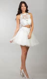 2015 semi formal vestido de dos piezas blanco corto de
