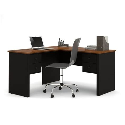 l shaped computer desk black bestar somerville l shaped desk in black and tuscany brown