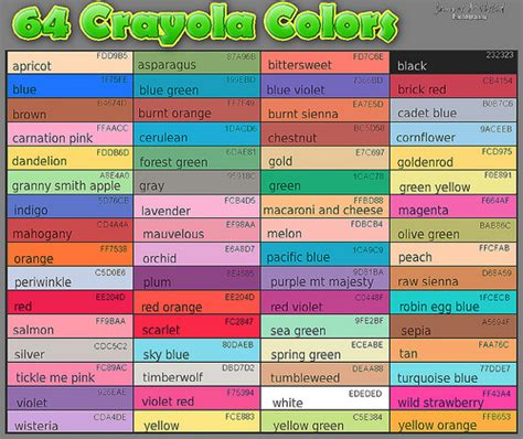 crayola color list 64 crayola colors flickr photo