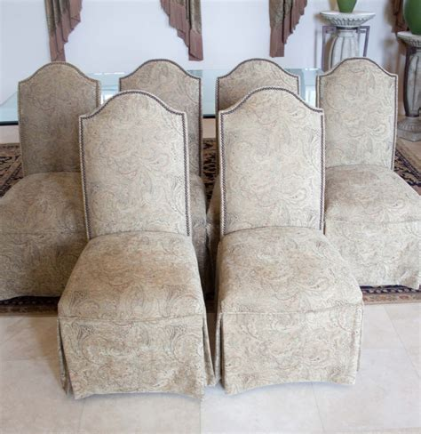 Skirted Parsons Chairs Set Of Six Skirted Parsons Chairs Ebth