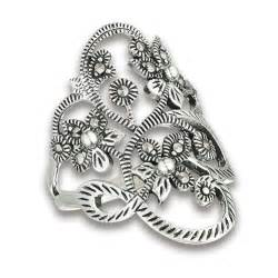 Sterling Silver Flower Ring sterling silver flower ring with marcasite