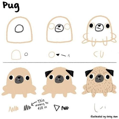 draw pug how to draw a pug using basic shapes like ed emberley style pugs