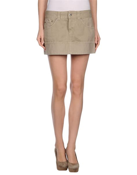 dondup mini denim skirt in khaki lyst