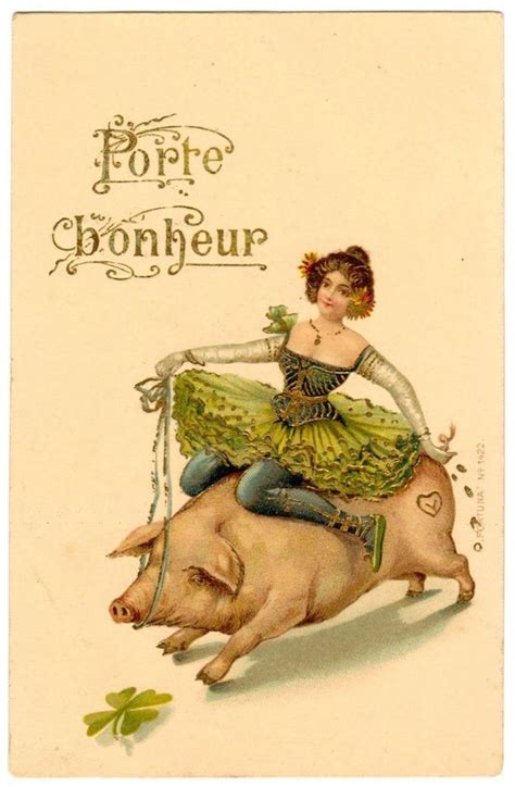 new year pig facts postcard new year wishes porte bonheur dancer rides