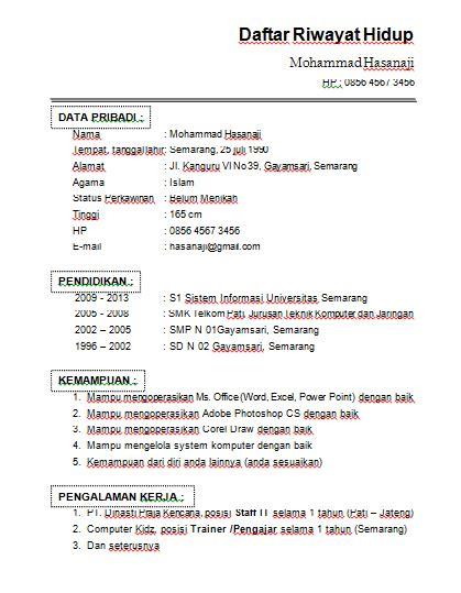 format daftar riwayat hidup via email contoh format cv daftar riwayat hidup doc