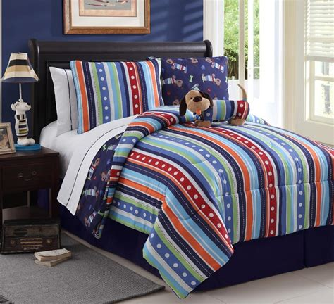 twin bedding sets boy boys bed in a bag reversible multi color set twin or full