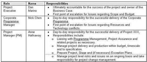 project management roles and responsibilities template roles and responsibilities which details the
