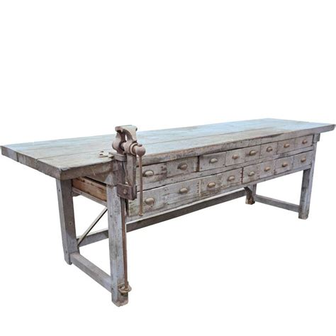 work bench with vice rustic handmade work bench with blacksmith vice at 1stdibs