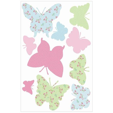 C40 Wallpaper Sticker Green With Butterfly fun4walls butterflies wall stickers maxi stikarouds sa12357 childrens stikarounds from i