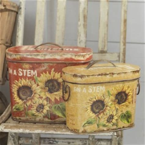 sunflower canisters for kitchen new raz sunflower canister set kitchen garden decor cc ebay