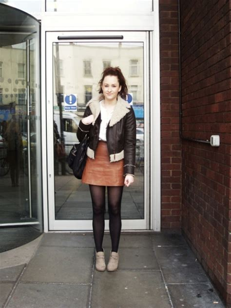 picture of with white shirt leather skirt shearling