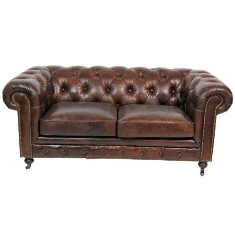 Georgian Style Brown Leather Tufted Chesterfield Sofa For Tufted Leather Sofa For Sale