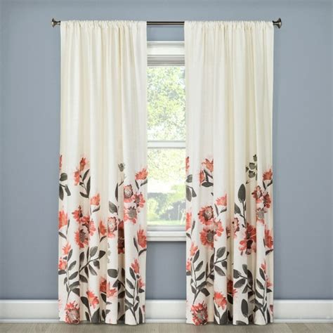target coral curtains climbing floral window curtain panel coral 54 quot x108