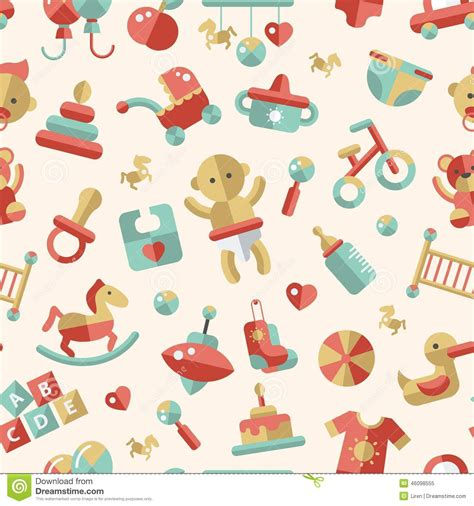cute icon pattern illustration of flat design cute baby pattern with stock