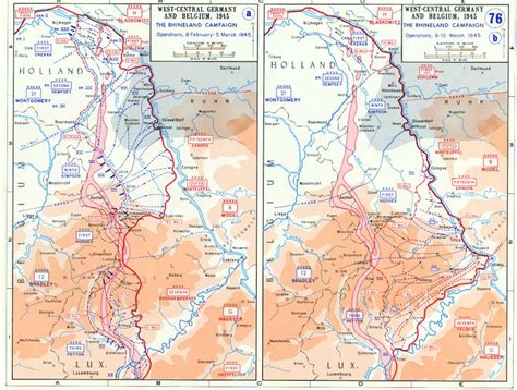 map depicting the allied advance to the rhine river in