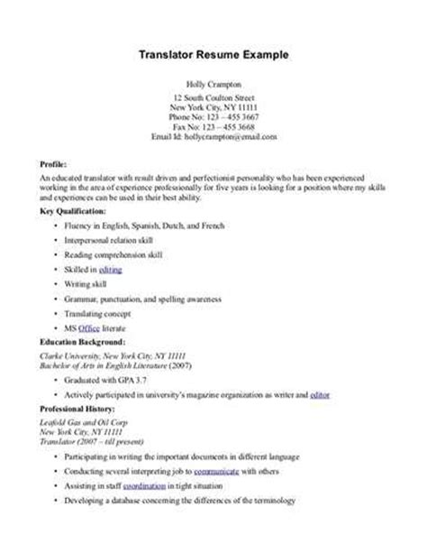 Translator Resume Template by About Sle Translator Resumes