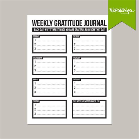 gratitude journal template free three things weekly gratitude journal