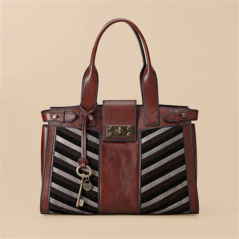 Fossil Large Satchel by Fossil Chevron Large Satchel Purses