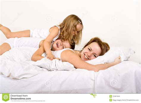 happy morning and on the bed stock photo