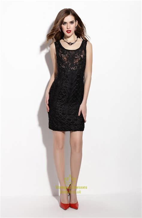 Sleeveless Lace Cocktail Dress black sleeveless lace overlay sheath cocktail dress