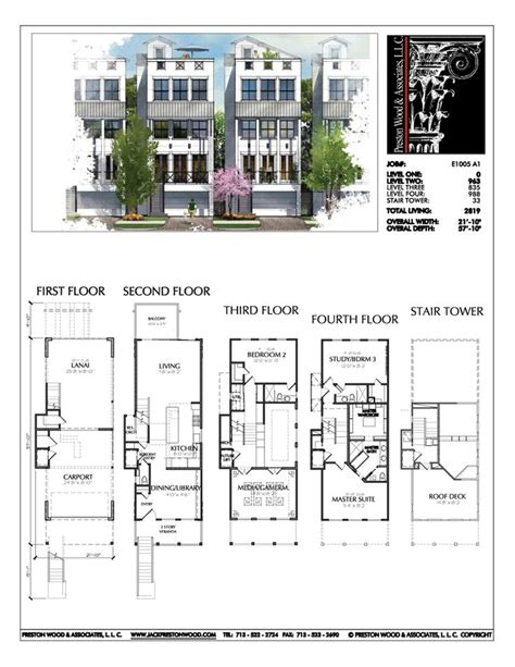 narrow townhouse floor plans townhouse plan e1005 a1 master bedroom keziah bedroom 3