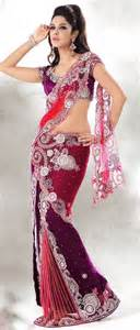 Red And Purple Net Lehenga Style Saree With Blouse