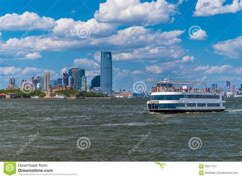 nj party boat prices boat with jersey city on background stock photo image