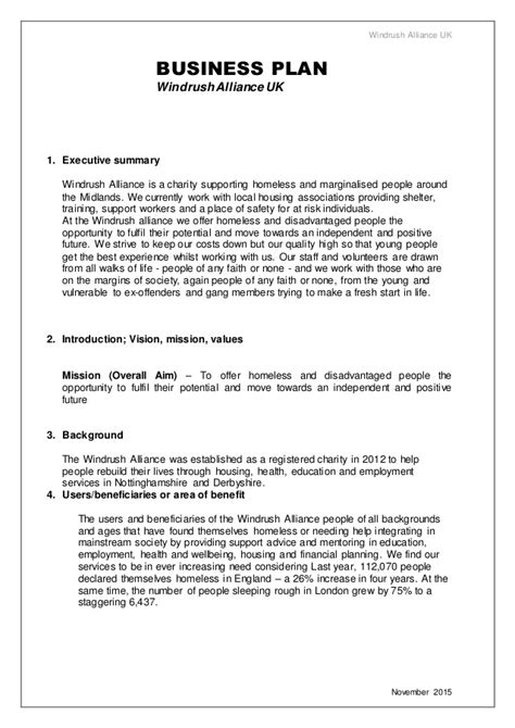 charity business plan template business plan