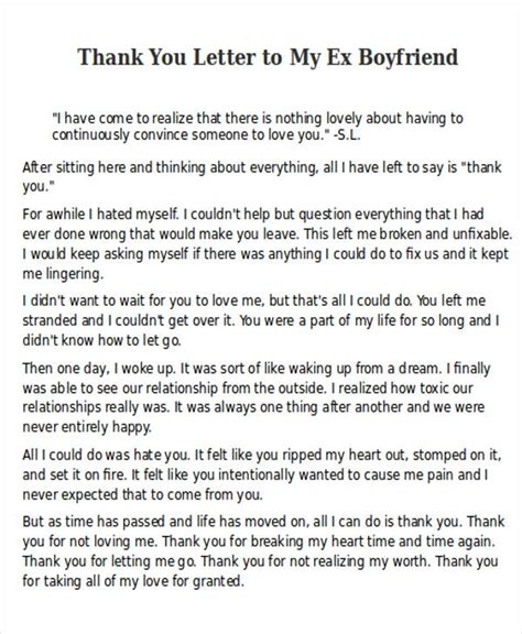 thank you letter to my ex letter to my ex boyfriend docoments ojazlink