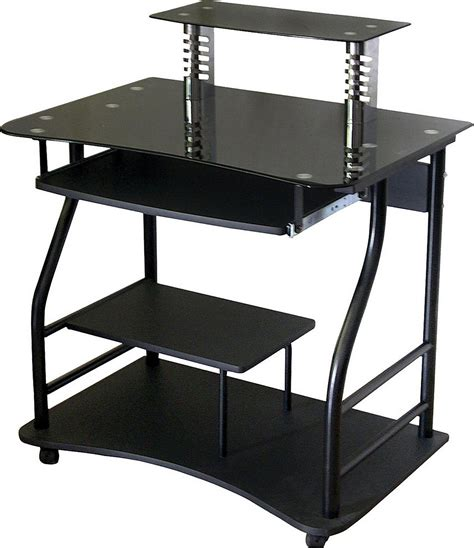 Computer Desk With Monitor Stand Black Glass Computer Desk With Monitor Stand Minimalist Desk Design Ideas